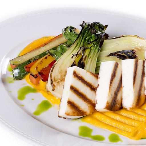 Grillezett juhsajt sült zöldségekkel