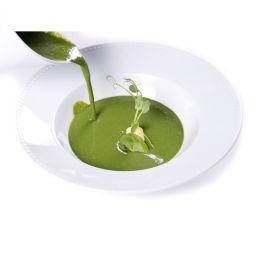 Zöldborsókrém leves lágy sajtkrémmel töltött fánkkal